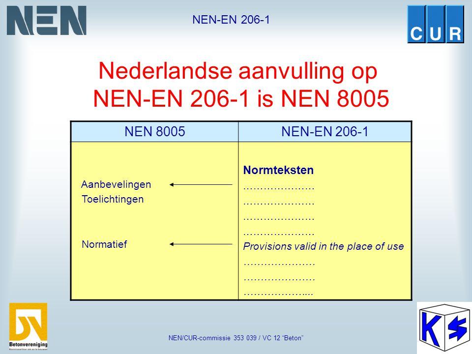 Nederlandse aanvulling op NEN-EN 206-1 is NEN 8005