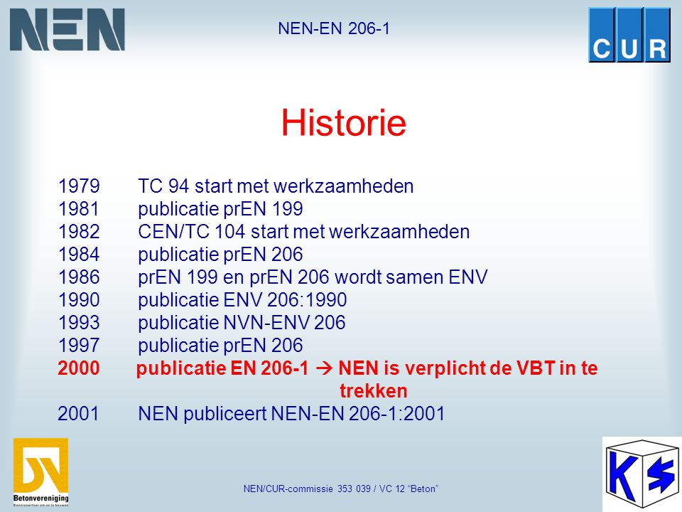 NEN/CUR-commissie 353 039 / VC 12 Beton