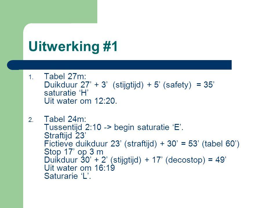 Uitwerking #1 Tabel 27m: Duikduur 27' + 3' (stijgtijd) + 5' (safety) = 35' saturatie 'H' Uit water om 12:20.