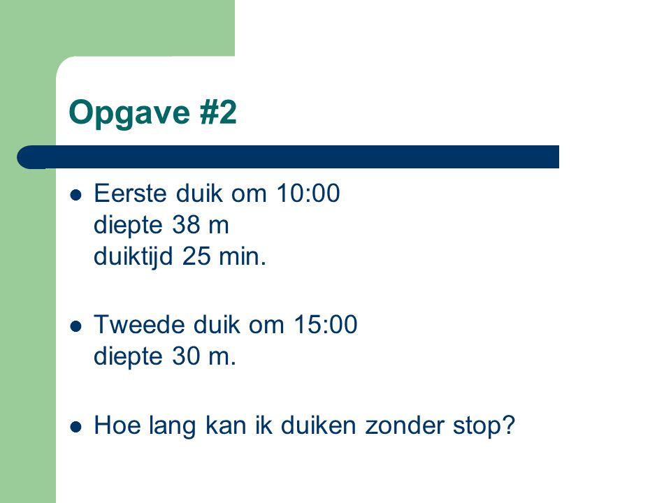 Opgave #2 Eerste duik om 10:00 diepte 38 m duiktijd 25 min.