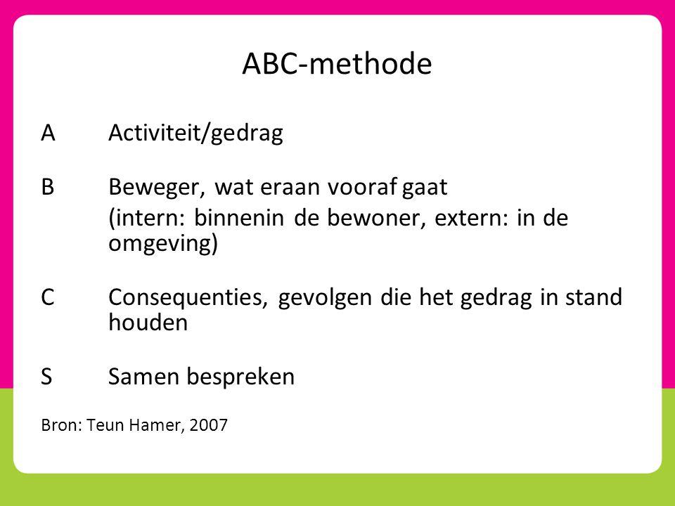 ABC-methode A Activiteit/gedrag B Beweger, wat eraan vooraf gaat