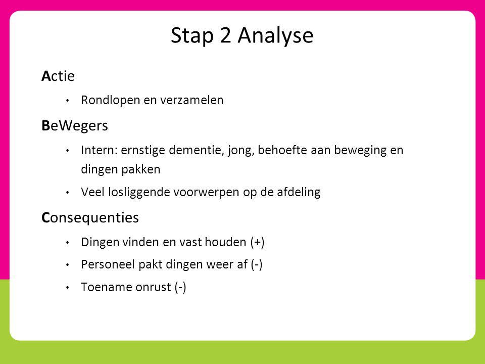 Stap 2 Analyse Actie BeWegers Consequenties Rondlopen en verzamelen