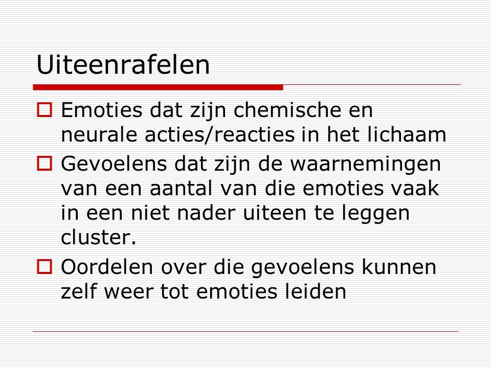 Uiteenrafelen Emoties dat zijn chemische en neurale acties/reacties in het lichaam.