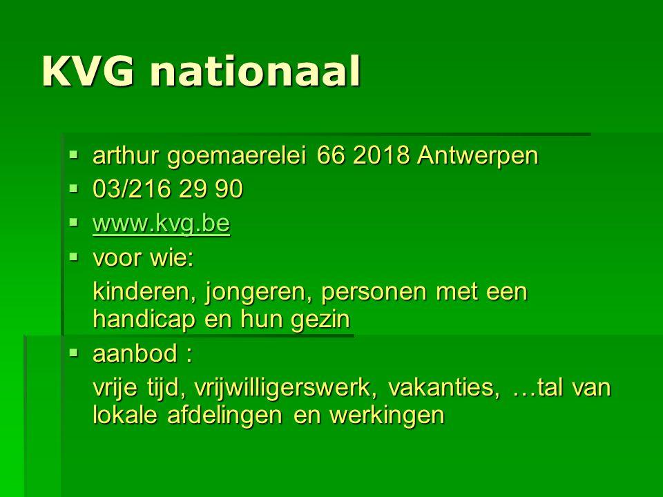 KVG nationaal arthur goemaerelei 66 2018 Antwerpen 03/216 29 90