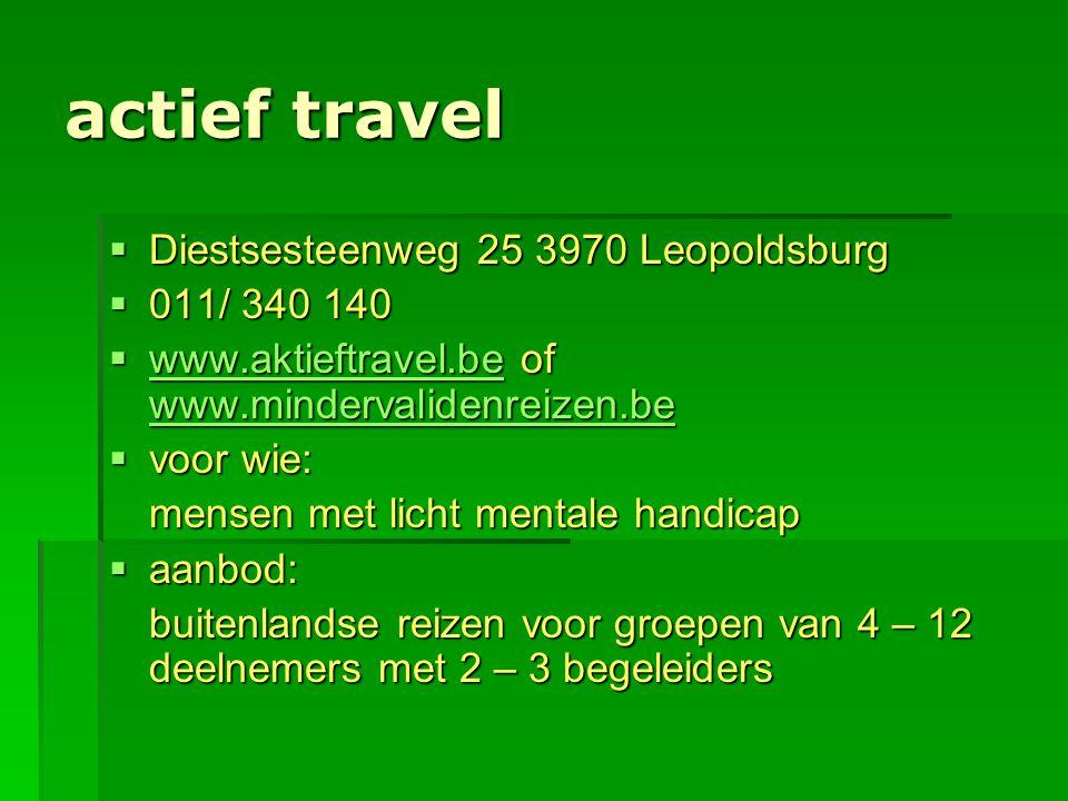 actief travel Diestsesteenweg 25 3970 Leopoldsburg 011/ 340 140
