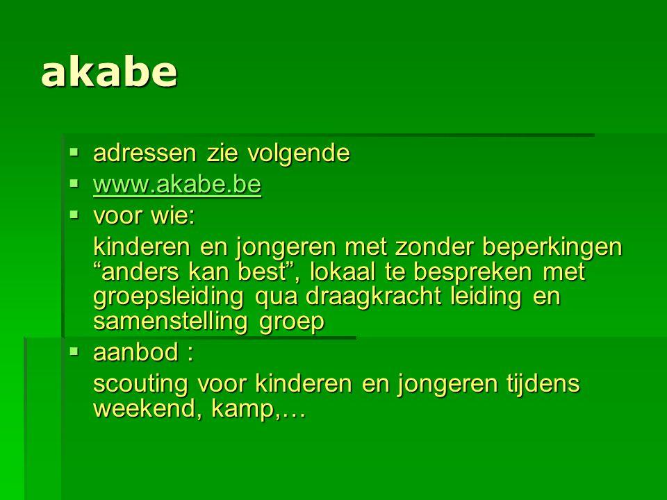 akabe adressen zie volgende www.akabe.be voor wie: