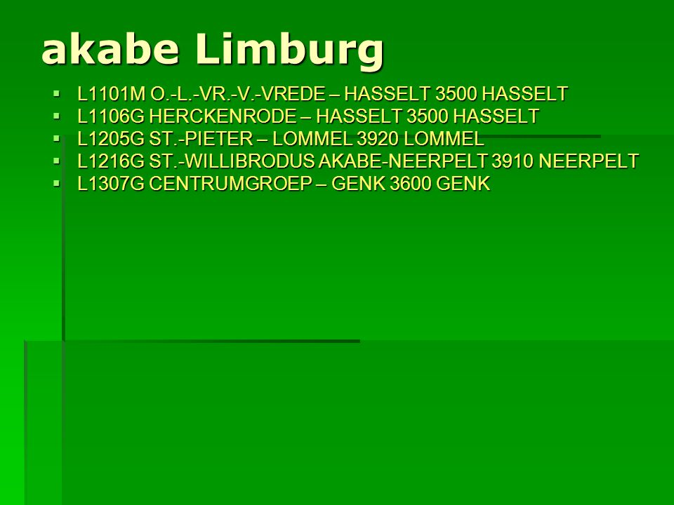 akabe Limburg L1101M O.-L.-VR.-V.-VREDE – HASSELT 3500 HASSELT