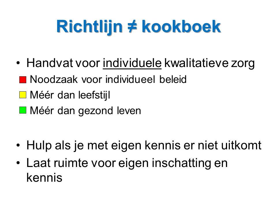 Richtlijn ≠ kookboek Handvat voor individuele kwalitatieve zorg