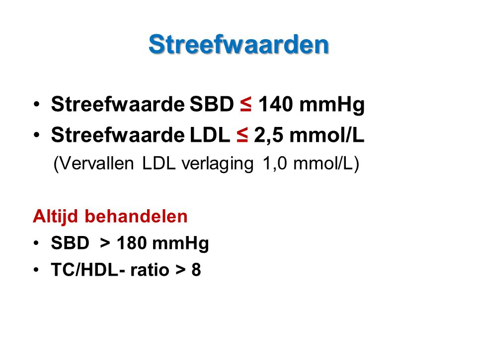 Streefwaarden Streefwaarde SBD ≤ 140 mmHg