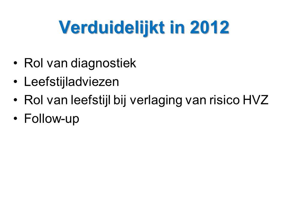 Verduidelijkt in 2012 Rol van diagnostiek Leefstijladviezen