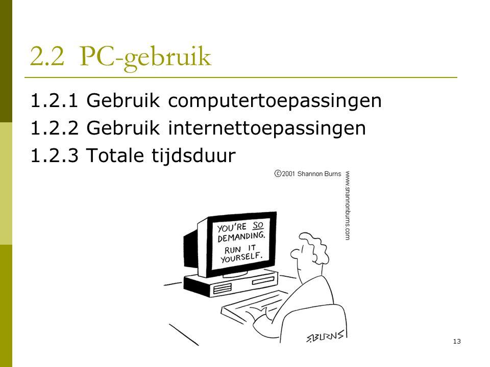 2.2 PC-gebruik 1.2.1 Gebruik computertoepassingen