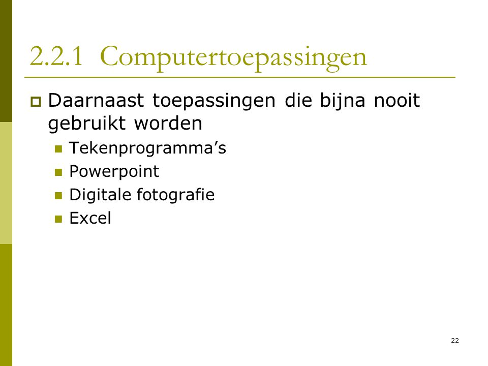 2.2.1 Computertoepassingen