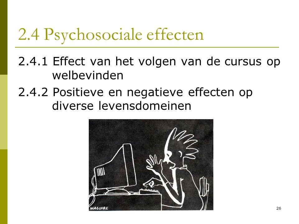 2.4 Psychosociale effecten