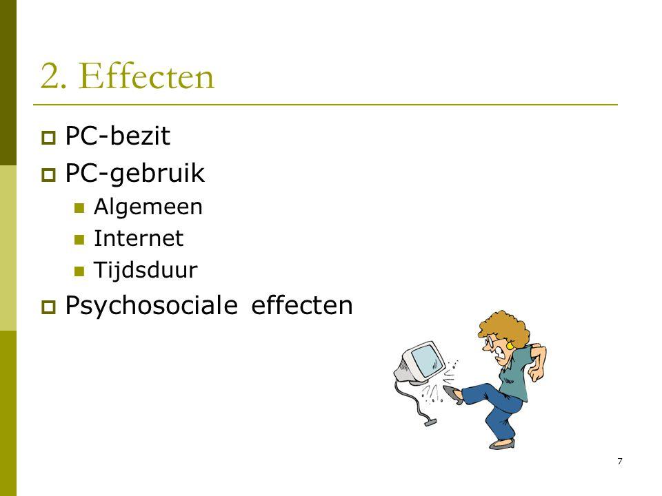 2. Effecten PC-bezit PC-gebruik Psychosociale effecten Algemeen