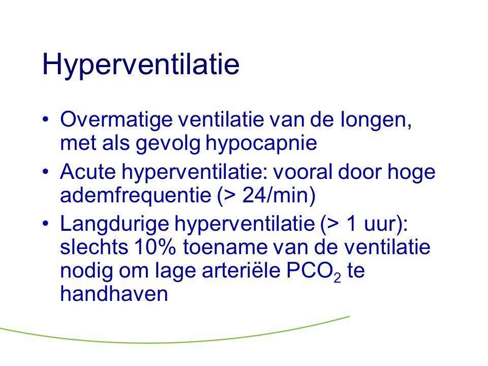Hyperventilatie Overmatige ventilatie van de longen, met als gevolg hypocapnie. Acute hyperventilatie: vooral door hoge ademfrequentie (> 24/min)