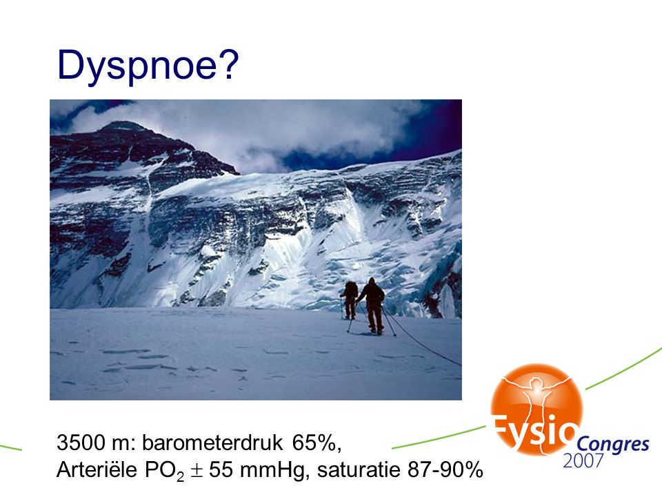 Dyspnoe 3500 m: barometerdruk 65%,