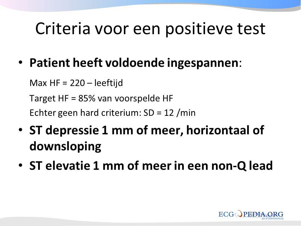 Criteria voor een positieve test