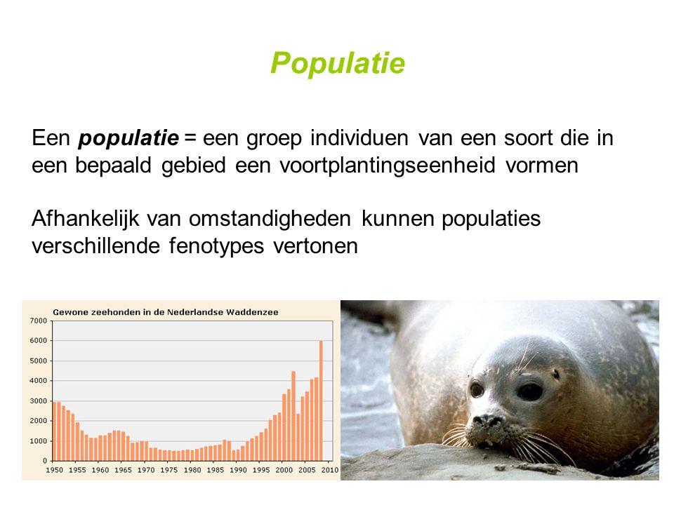 Populatie Een populatie = een groep individuen van een soort die in een bepaald gebied een voortplantingseenheid vormen.