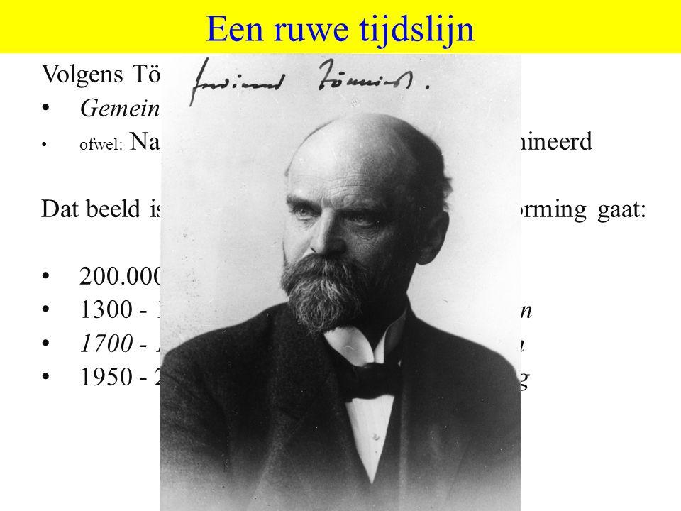Een ruwe tijdslijn Volgens Tönnies (1875) twee tijdperken: