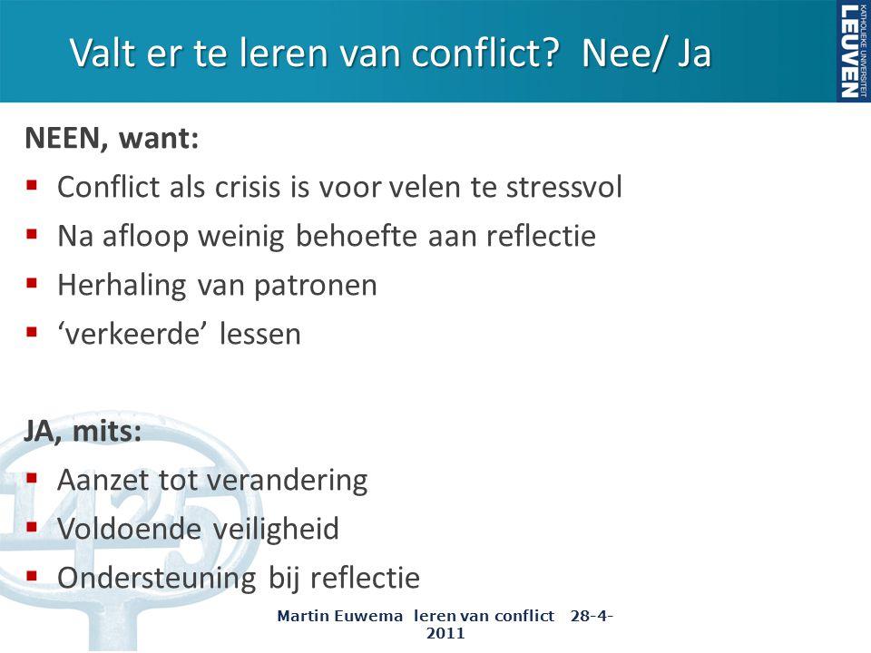 Valt er te leren van conflict Nee/ Ja