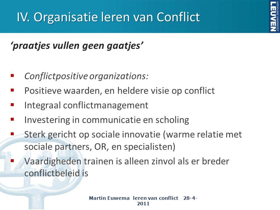IV. Organisatie leren van Conflict