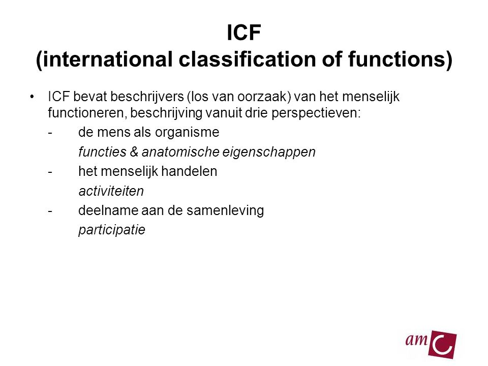 ICF (international classification of functions)