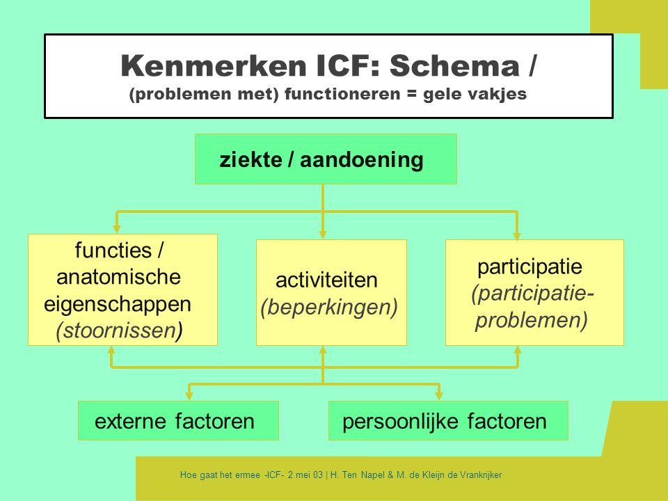 Kenmerken ICF: Schema / (problemen met) functioneren = gele vakjes