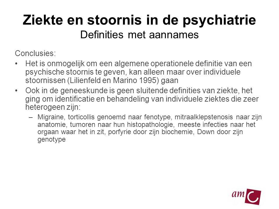 Ziekte en stoornis in de psychiatrie Definities met aannames