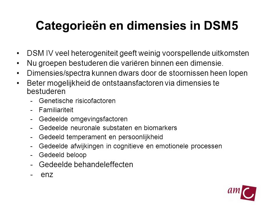 Categorieën en dimensies in DSM5
