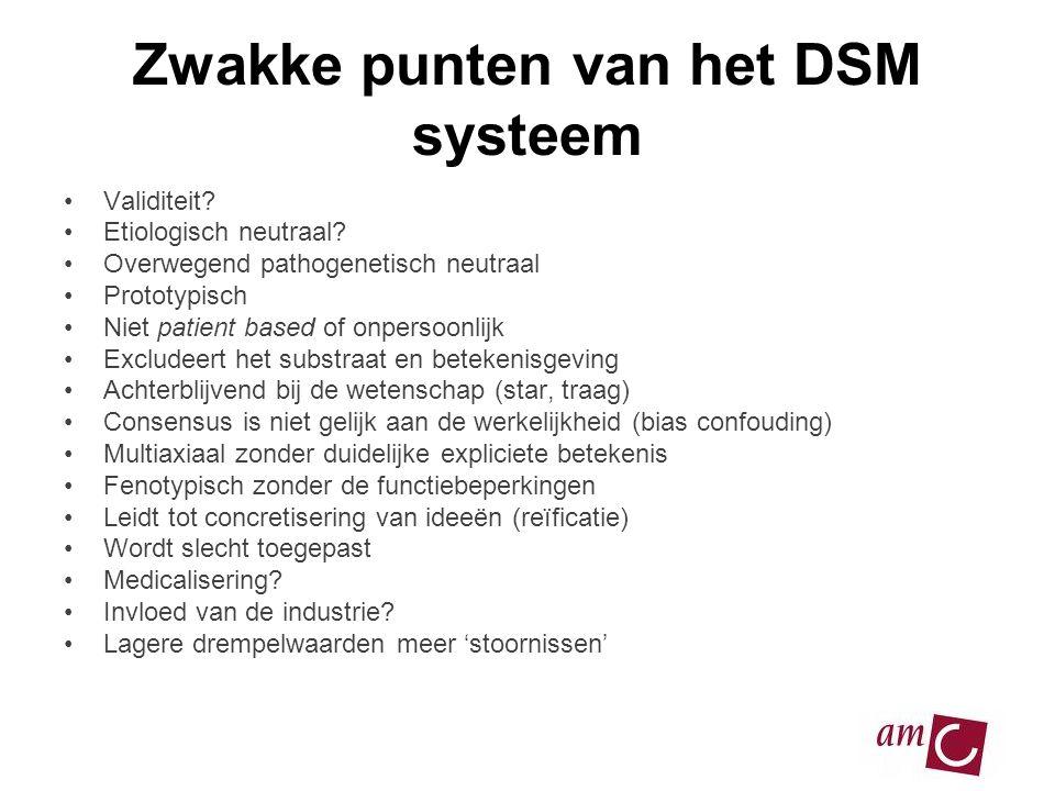 Zwakke punten van het DSM systeem