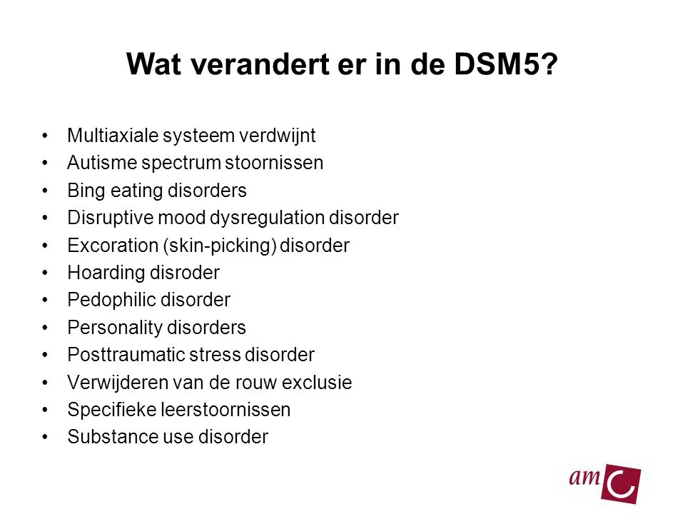 Wat verandert er in de DSM5