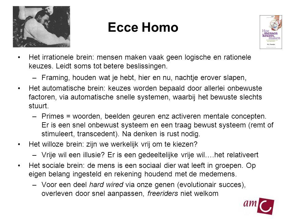 Ecce Homo Het irrationele brein: mensen maken vaak geen logische en rationele keuzes. Leidt soms tot betere beslissingen.