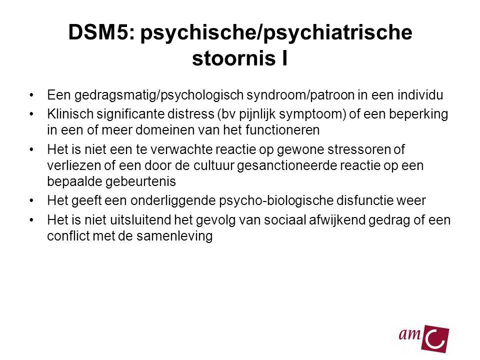 DSM5: psychische/psychiatrische stoornis I