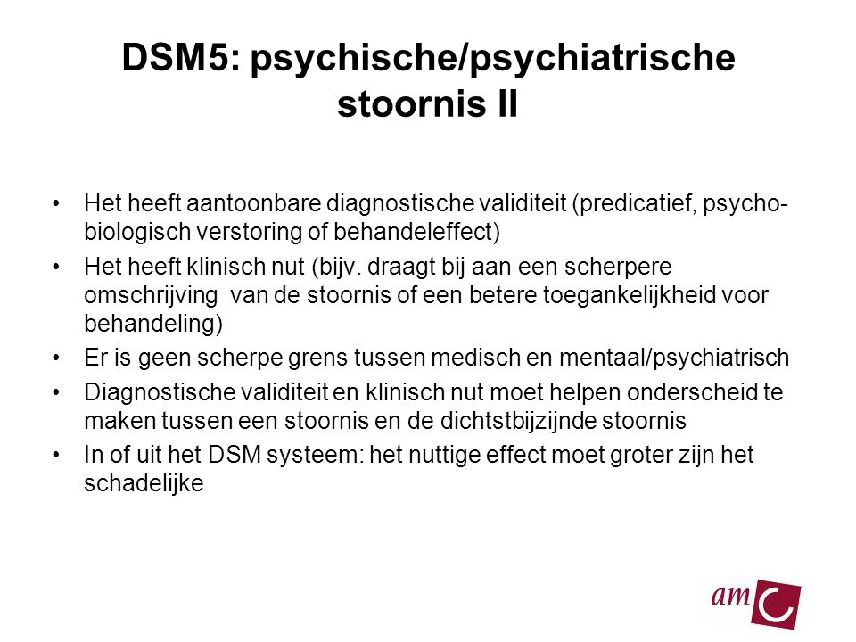 DSM5: psychische/psychiatrische stoornis II
