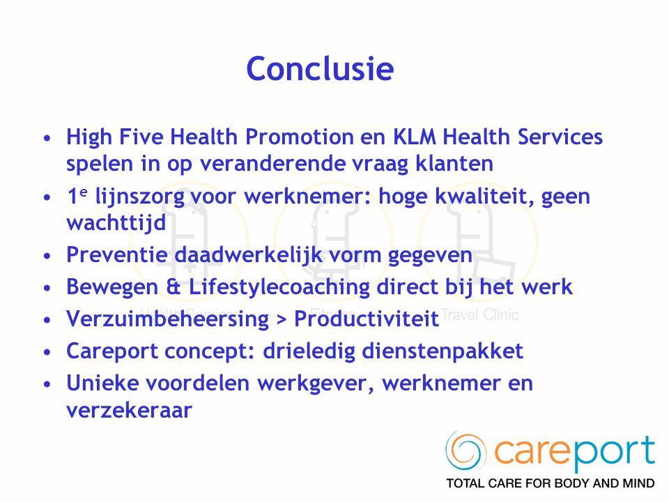 Conclusie High Five Health Promotion en KLM Health Services spelen in op veranderende vraag klanten.