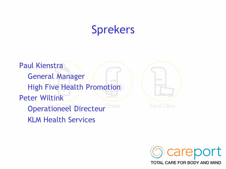 Sprekers Paul Kienstra General Manager High Five Health Promotion