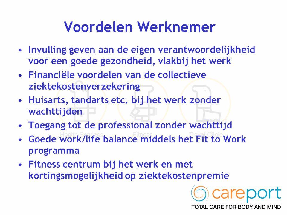 Voordelen Werknemer Invulling geven aan de eigen verantwoordelijkheid voor een goede gezondheid, vlakbij het werk.