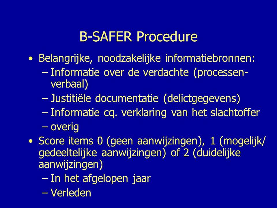 B-SAFER Procedure Belangrijke, noodzakelijke informatiebronnen:
