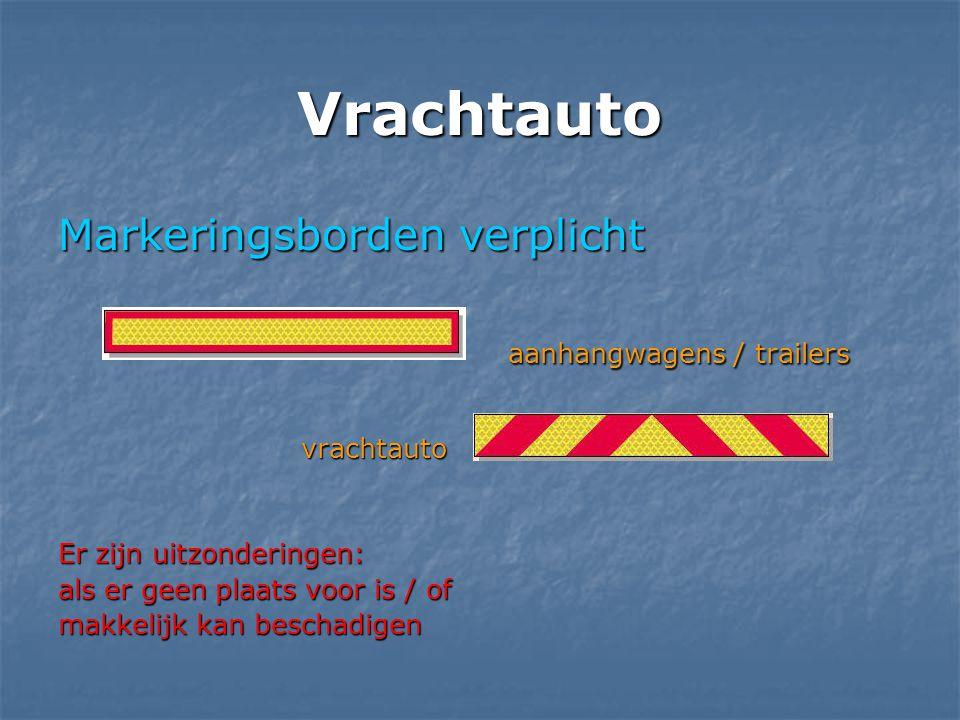 Vrachtauto Markeringsborden verplicht aanhangwagens / trailers