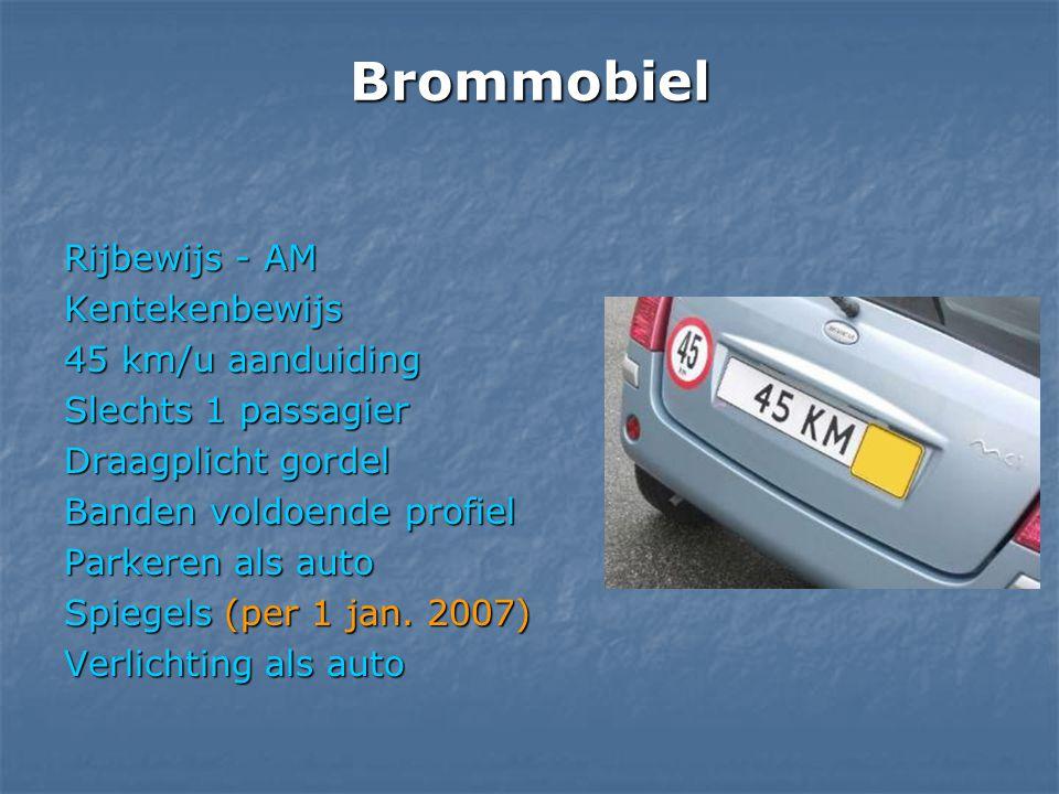 Brommobiel Rijbewijs - AM Kentekenbewijs 45 km/u aanduiding