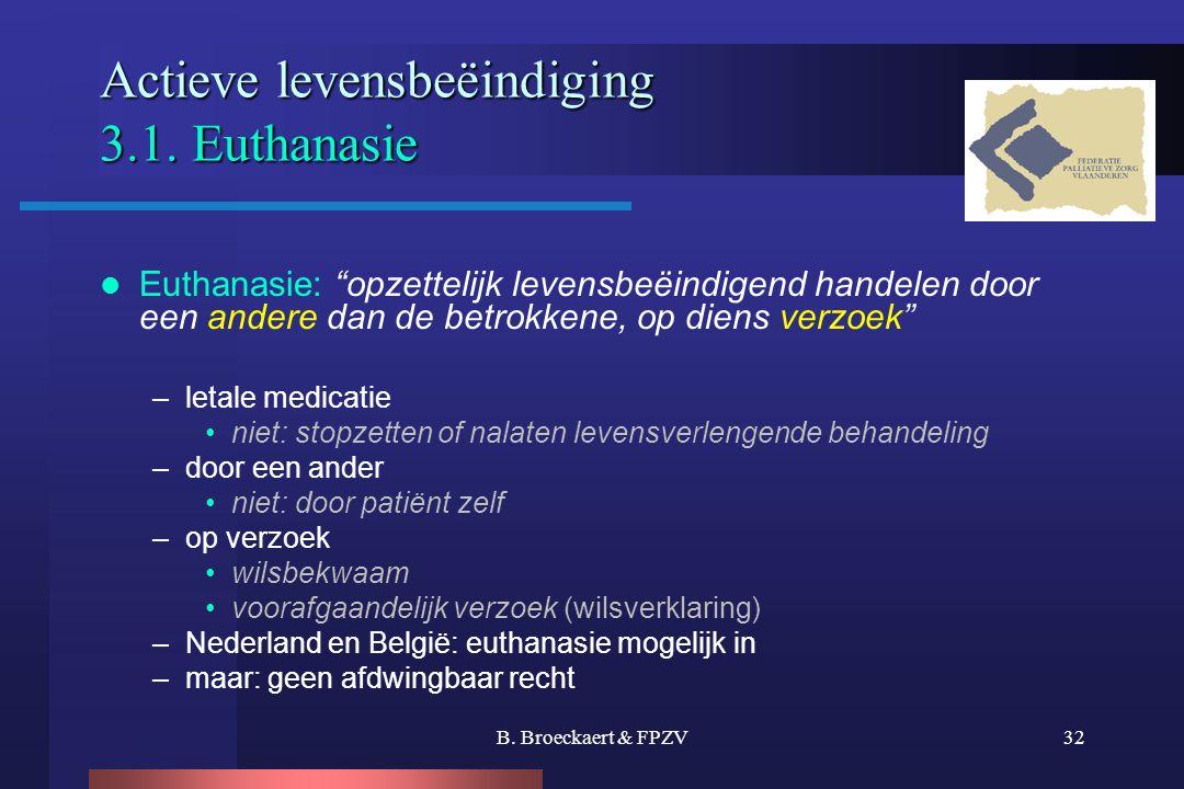Actieve levensbeëindiging 3.1. Euthanasie