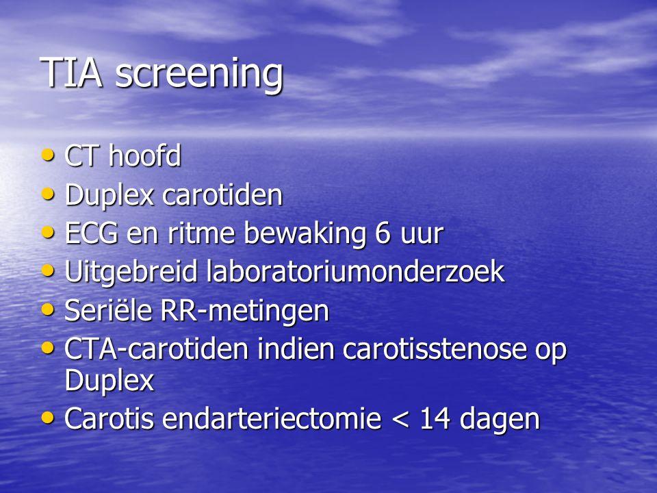 TIA screening CT hoofd Duplex carotiden ECG en ritme bewaking 6 uur