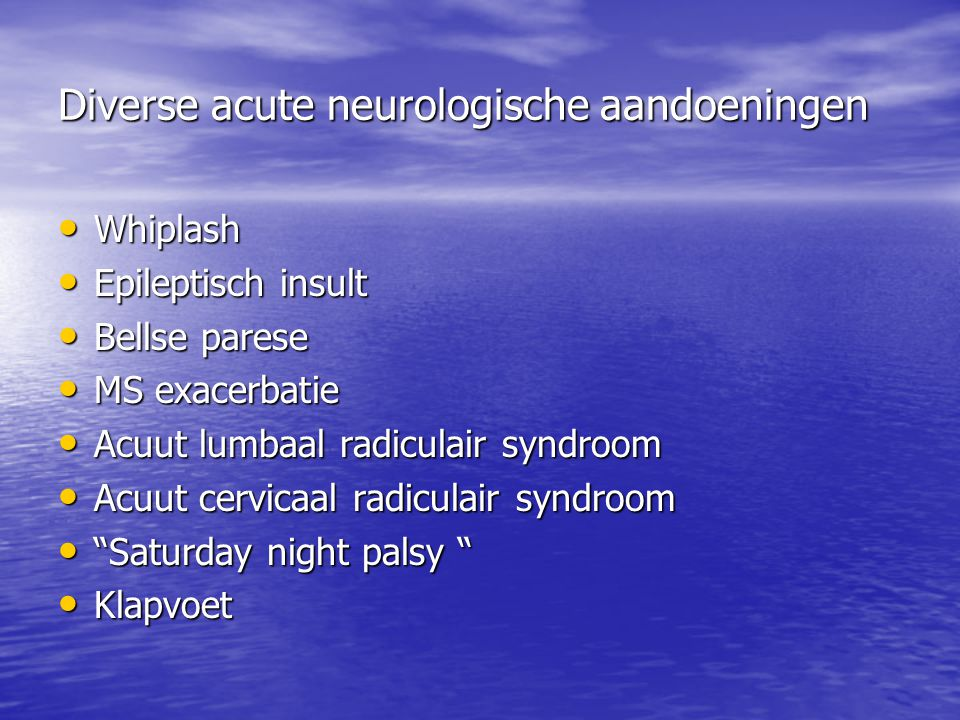 Diverse acute neurologische aandoeningen