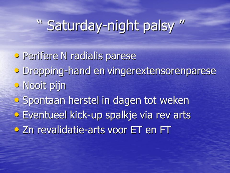 Saturday-night palsy