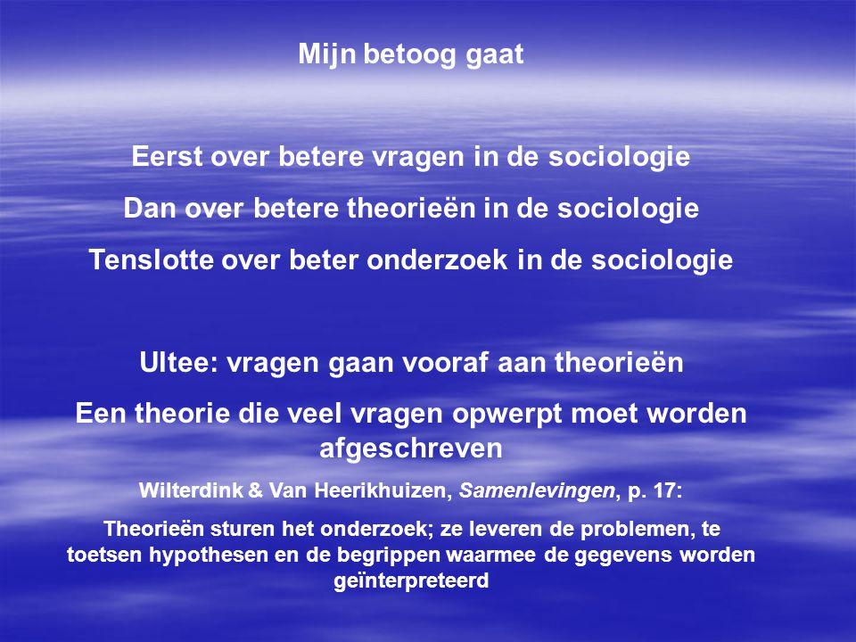 Eerst over betere vragen in de sociologie