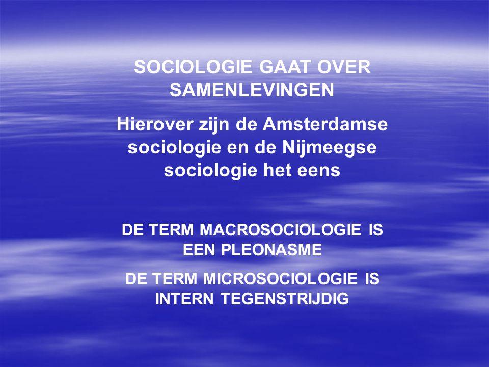SOCIOLOGIE GAAT OVER SAMENLEVINGEN