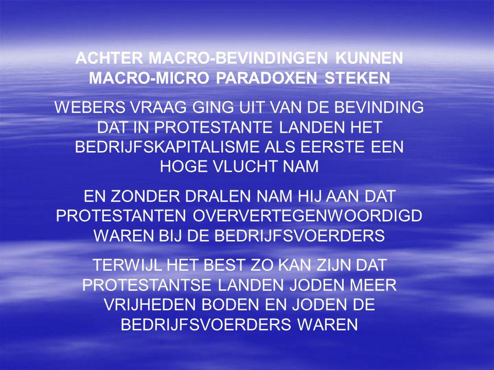 ACHTER MACRO-BEVINDINGEN KUNNEN MACRO-MICRO PARADOXEN STEKEN