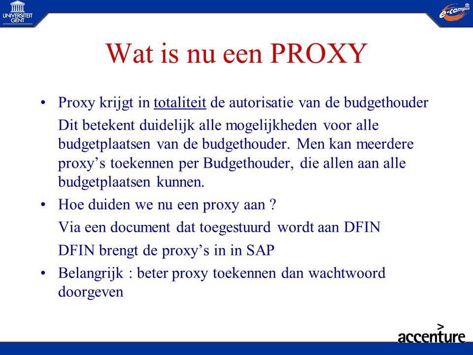 Wat is nu een PROXY Proxy krijgt in totaliteit de autorisatie van de budgethouder.