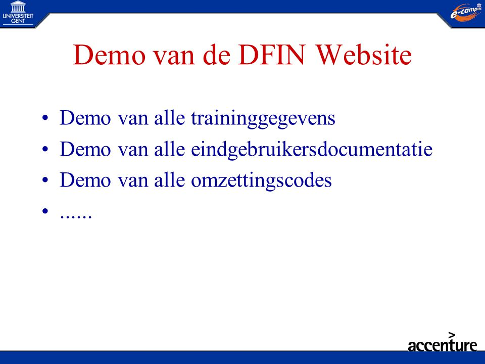 Demo van de DFIN Website