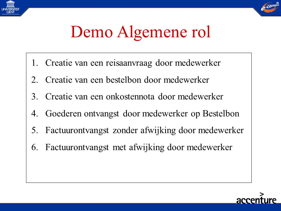 Demo Algemene rol Creatie van een reisaanvraag door medewerker